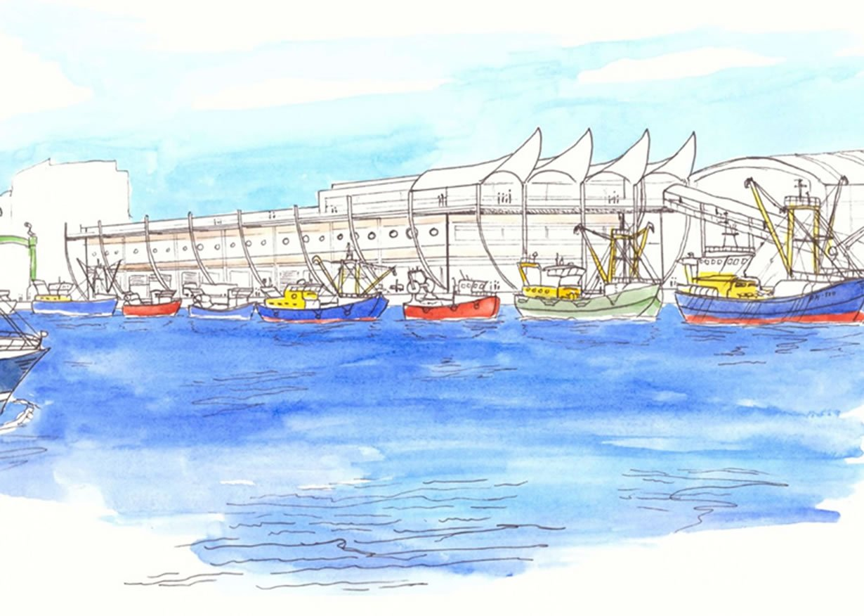 From the northwest, the new, state of the art facility offers an iconic backdrop to the proud Plymouth fishing fleet, landing catches and preparing for sea.